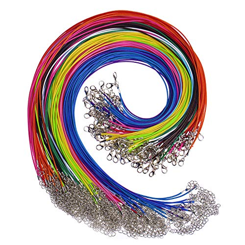Paxcoo 150PCS 1.5mm Waxed Cotton Necklace Cord Bulk with Clasp for DIY Jewelry Making, Mix Color (18