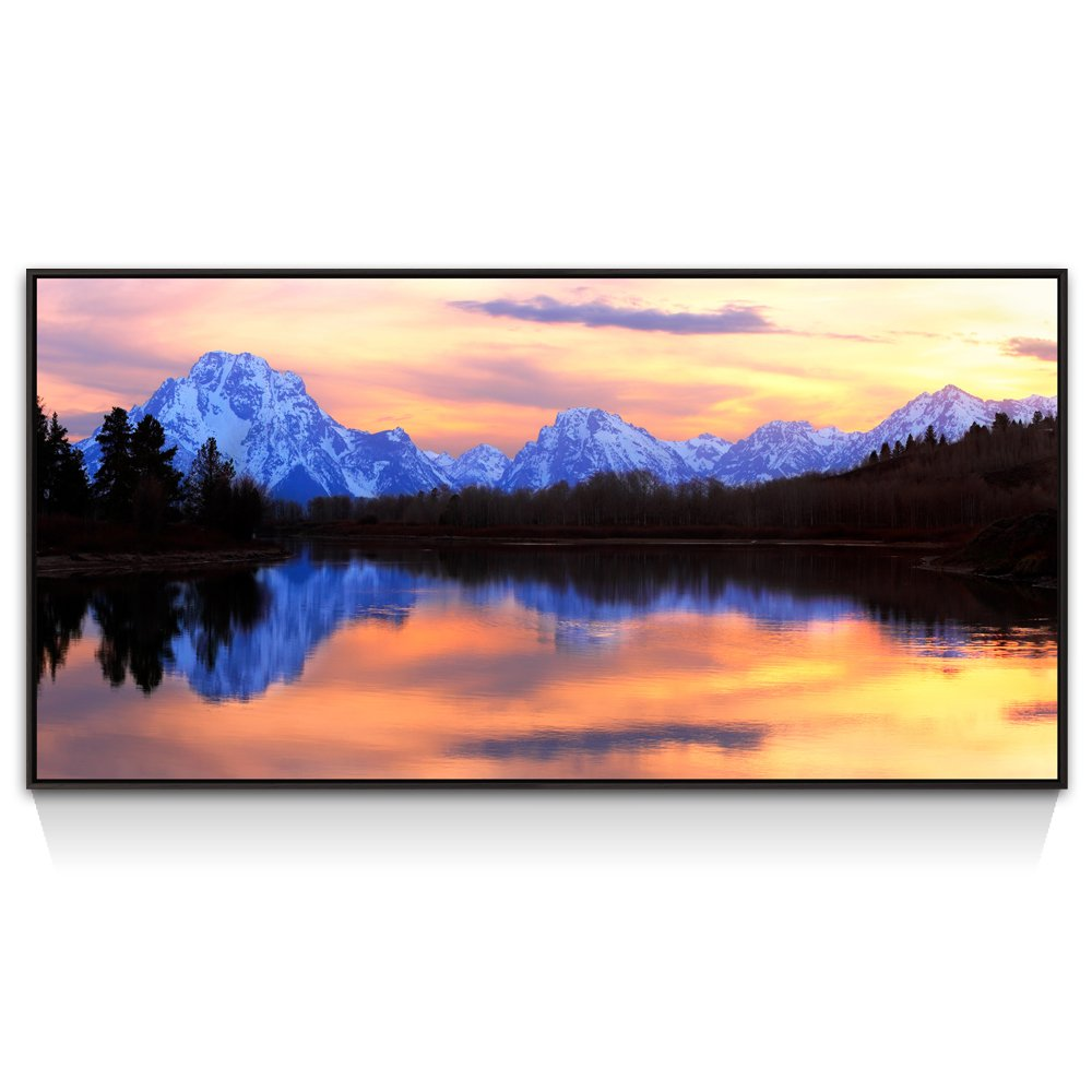 Grand Teton National Park Landscape Wall Art,The Teton Range Picture Canvas Print,Winter Peaceful Lake Scenery Canvas Art with Black Frame,Modern Home Decor Art
