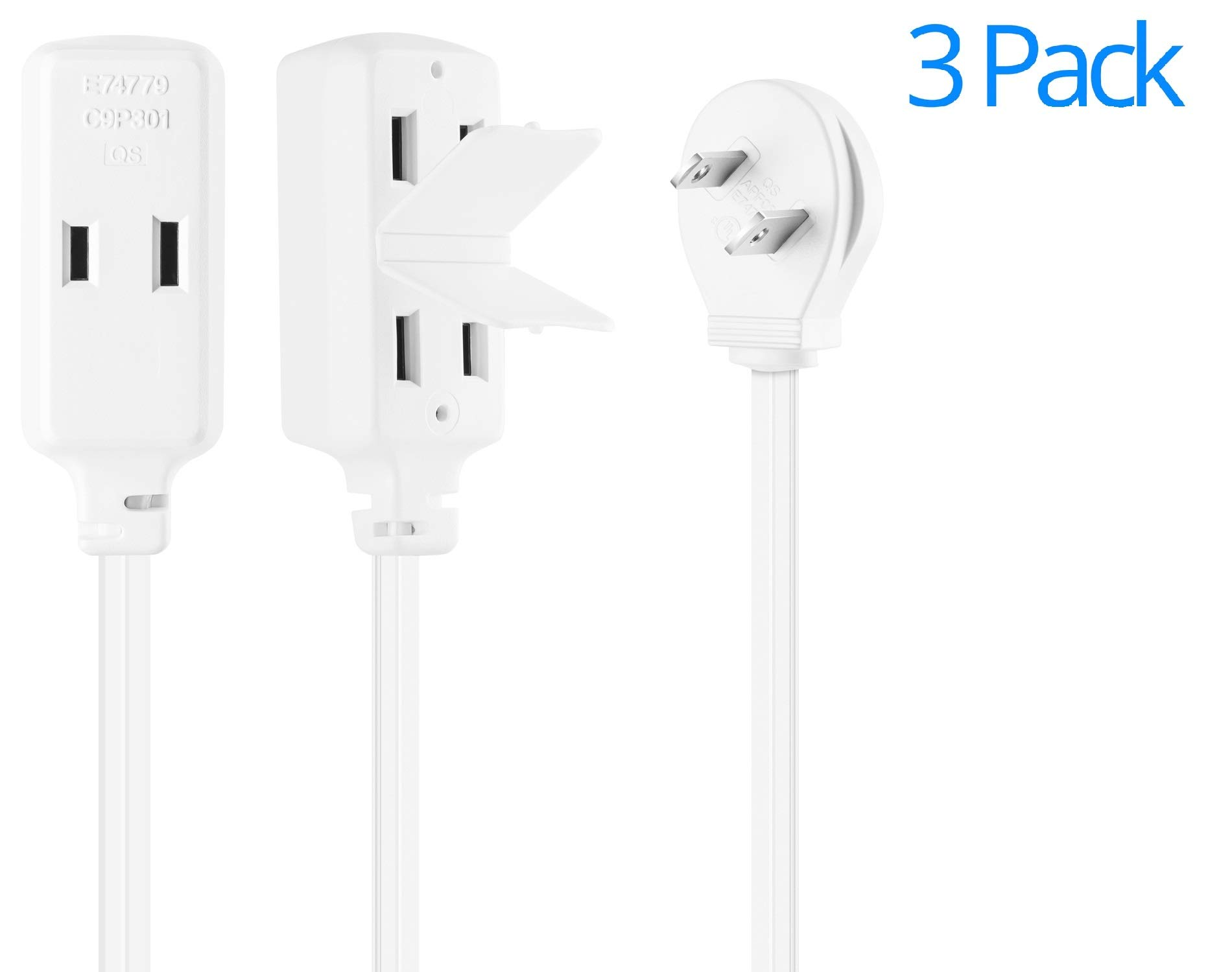 Maximm Cable 3 Foot Flat Plug Extension Cord/Wire, Multi Outlet - Angled Plug Extension Cord with Safety Water Proof Cover - 3 Pack - White