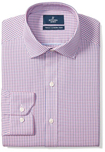 BUTTONED DOWN Men's Tailored Fit Spread-Collar Pattern Non-Iron Dress Shirt, Berry/Red/Navy Tattersall Micro Check, 16.5