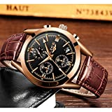 Mens Watches Leather Analog Quartz Watch Men Date Business Dress Wristwatch Mens Waterproof Sport Clock Gold