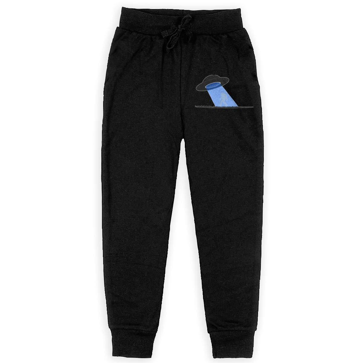 Teenager UFO Bigfoot Teen Sweatpants Active Pants Back Pocket Black
