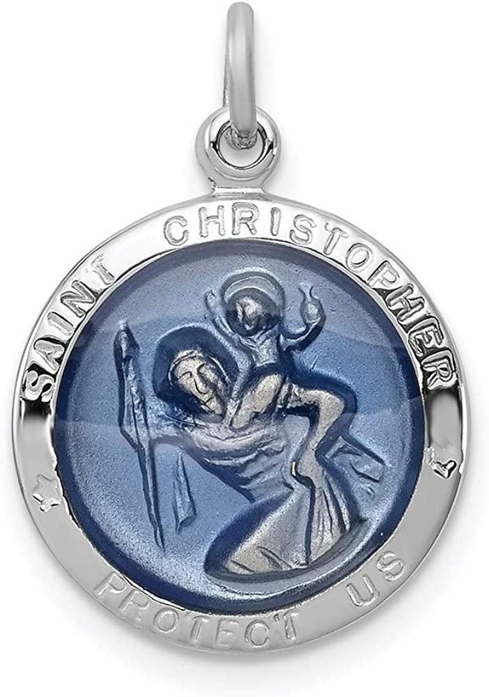 925 Sterling Silver Small Medium 15mm St Christopher Pendant
