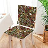 Mikihome Chair Cushion (Set of 2) Doodles Style Art Bingo Excitement Checkers King Tambourine Vegas Includes Seat and Backrest Mat:W17 x H17/Backrest:W17 x H36