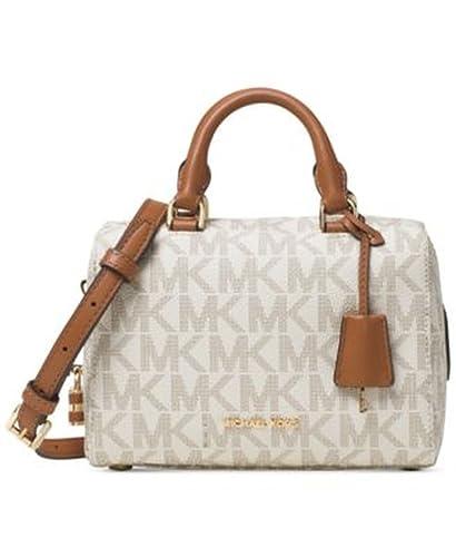 f7b10640295b Amazon.com  Michael Kors MICHAEL Kirby Mini Satchel Vanilla Print Handbag  New  Shoes