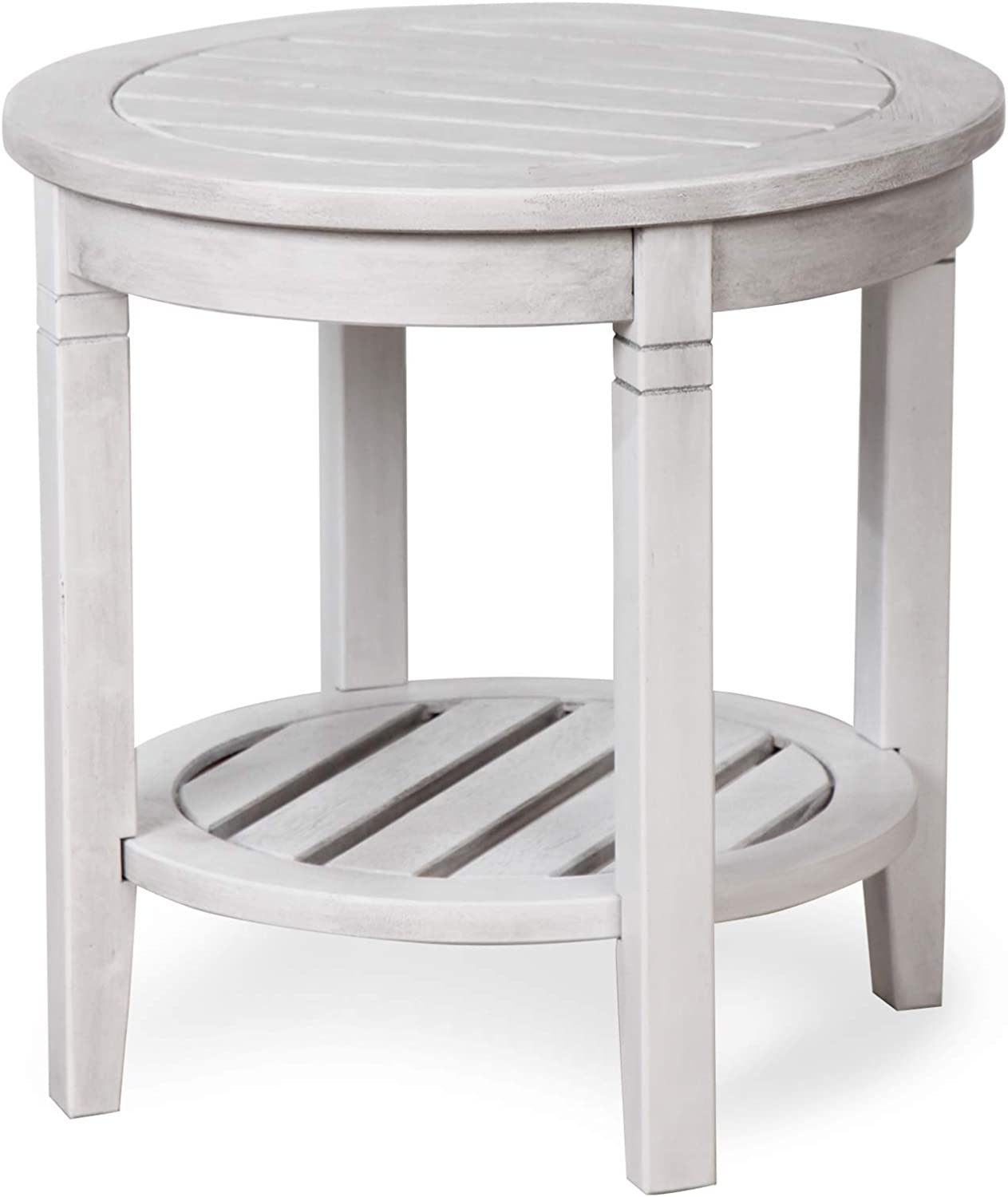 Cambridge Casual Solid Wood Bentley Side Table with Shelf, White Wash