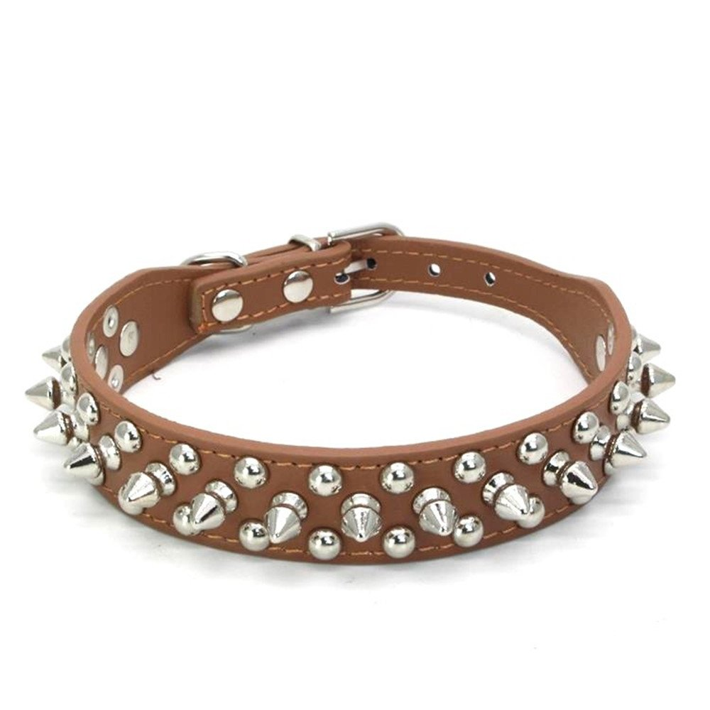 Benala Adjustable Decorated Leather Dog Collar with Spikes and Studs Pet Dog Collar for Small or Medium Pet Brown,XXL