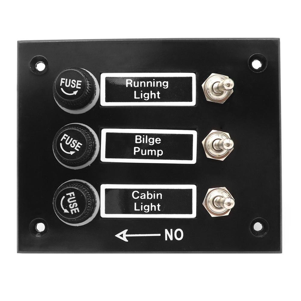 24V Asiproper Panneau de Commutateur /à Bascule /à 3 Dispositifs avec fusibles 5A pour Caravanes pour Bateaux de Plaisance 12V