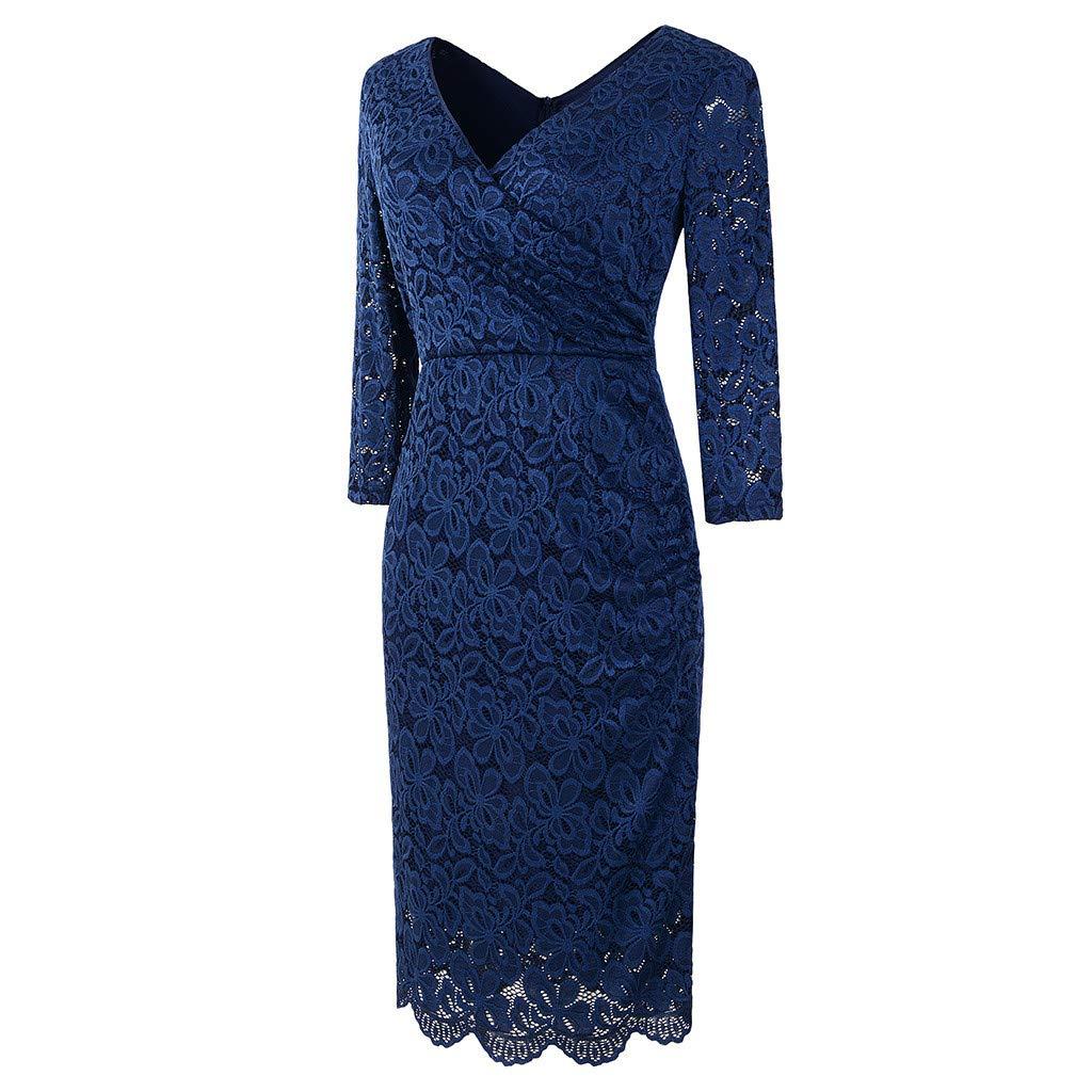 Celiy Women Long Sleeve Elegant V-Neck Lace Cocktail Formal Maxi Dress