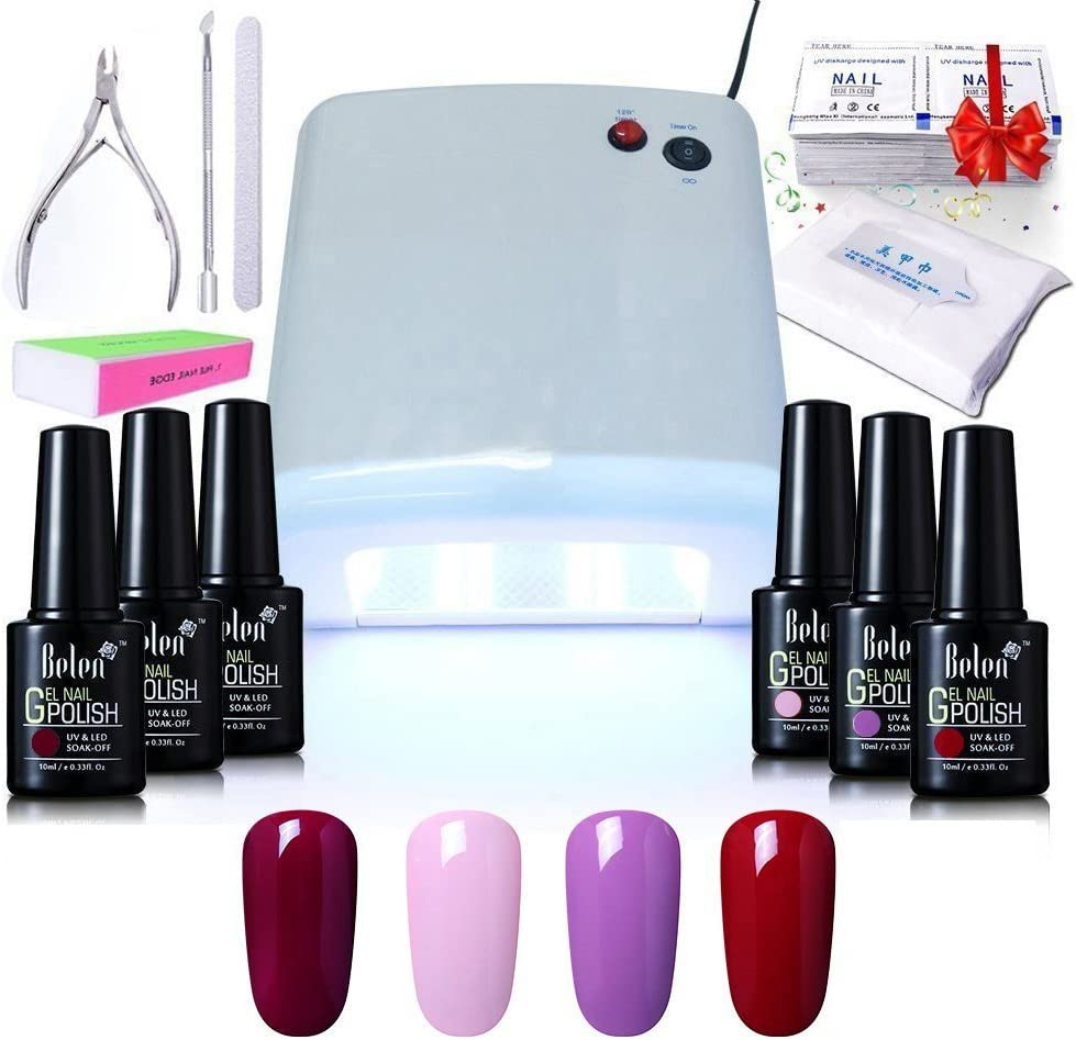 Belen Kit de manicura de gel, 4 colores, secado UV LED, esmalte de gel de 10 ml, lámpara UV de 36 W, juego de capa base y capa superior