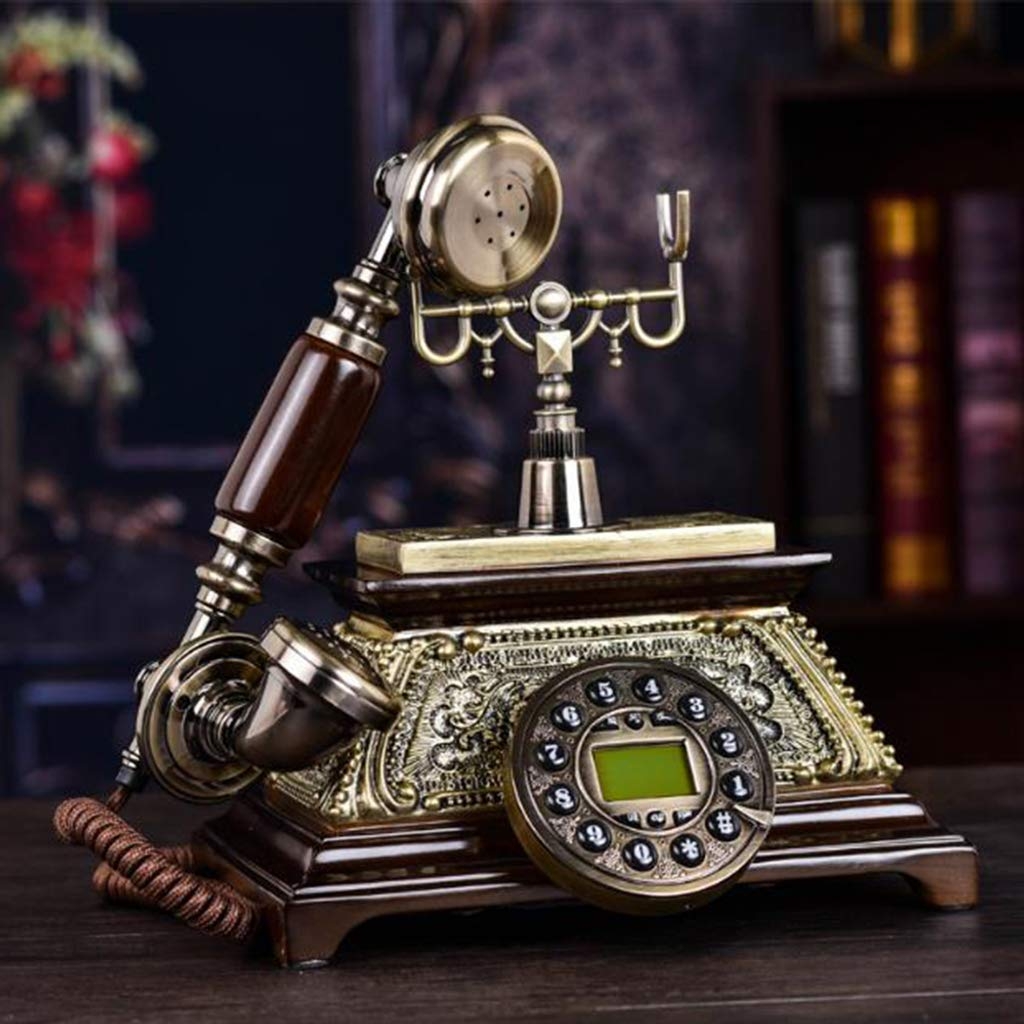 BEIGOO Retro Phone European Style,Antique Fashion Creative Seat Old Fashioned Nostalgic Antique Personality Fixed Telephone-A