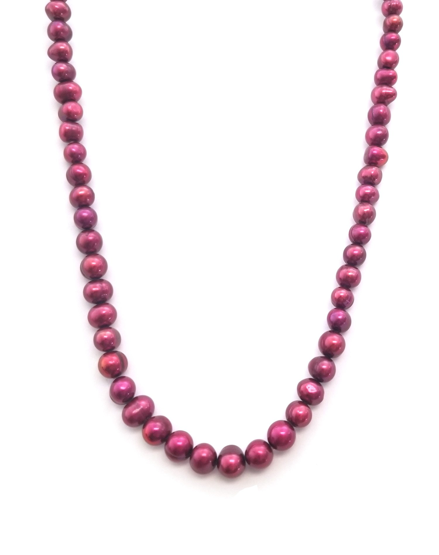Sterling Silver 7-8mm Circle Cultured Freshawter Pearl Necklace (Cranberry, 20.0)