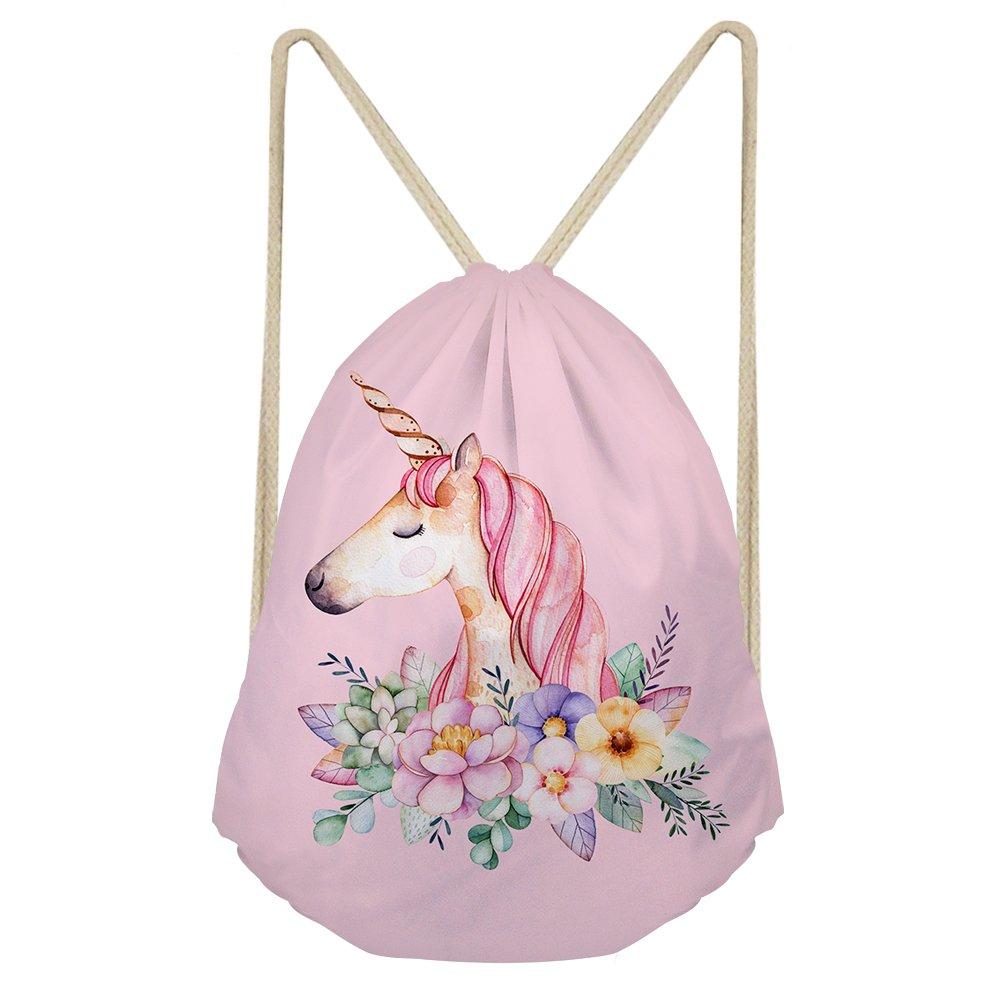 CuMagical Unicorn Drawstring Bag Personalized Print Travel Gym Gift String Bag