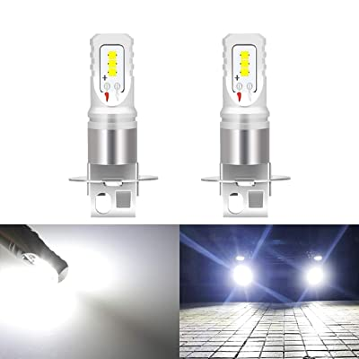 KATUR Extremenly Bright H3 Daytime Running Bulbs or Fog Lights TOP Advanced CSP LED Chips Car DRL Led- 6500K Xenon White 1600LM Waterproof IP68 80W - 3 Yr Warranty: Automotive