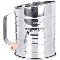 Flour Sifter, McoMce Sifter for Baking, Stainless Steel Hand Crank Flour Sifter with 3-Cup Measuring, Double-Layer Hand…