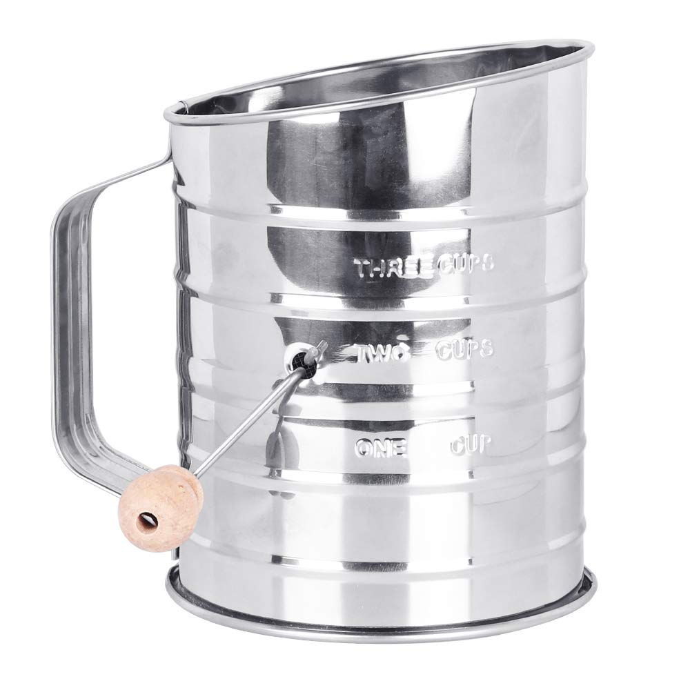 Stainless Steel Baking Sifter Hand Crank 8 Cup with 4-Wire Agitator