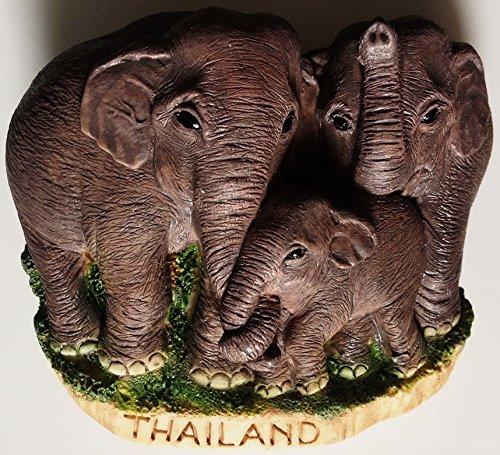 Thai Elephant with family Thailand High Quality Resin 3D fridge Refrigerator Thai Magnet Hand Made Craft.