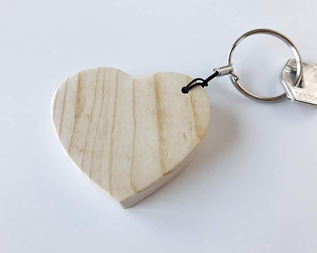 Llavero con corazón de madera de pino: Amazon.es: Handmade