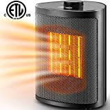 Orony Ceramic Portable Space Heater with Adjustable Heating Level-Perfect for Home and Office, 750W/1500W, Black
