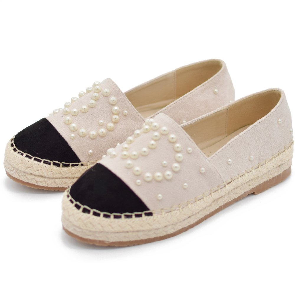 langou Women's Slip On Loafers Casual Flat Espadrilles Platform Pearl Suede Driving Holiday Shoes Woven Alpargata