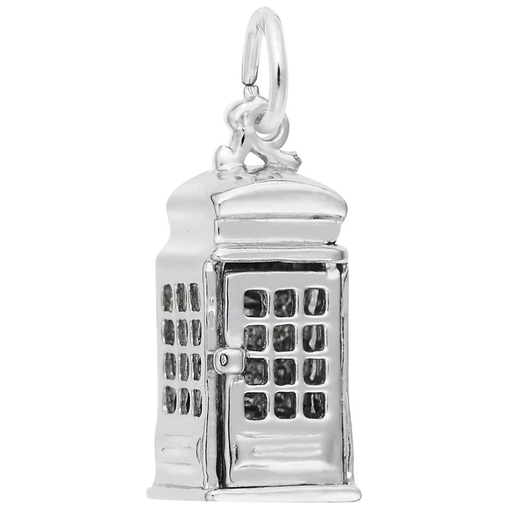 Rembrandt Charms, Phone Booth / TARDIS, .925 Sterling Silver