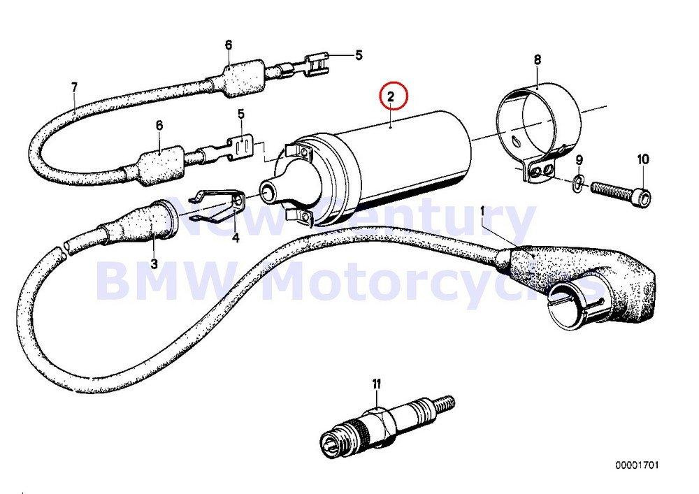 bmw genuine motorcycle spark plug/ignition wire/ignition coil ignition coil  6v r100/7t r100/t r100rs r100rt r100s r60/6 r75/6 r90/6 r90s r60/7 r75/7  r80 r65