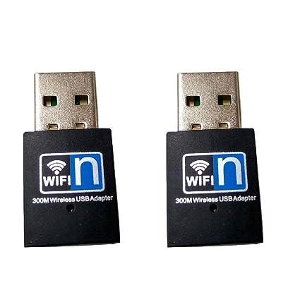 2 Pack] 300 M USB WiFi adaptador inalámbrico tarjeta de red ...
