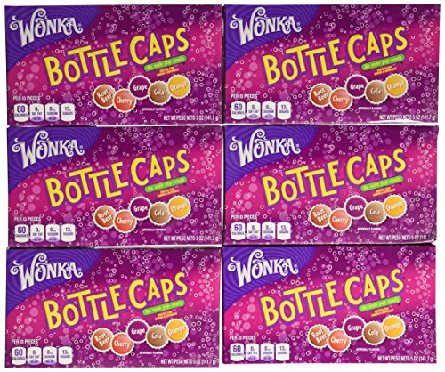 Wonka Bottle Caps, Soda Pop Candy, 5 Ounce Boxes (Pack of 12) -