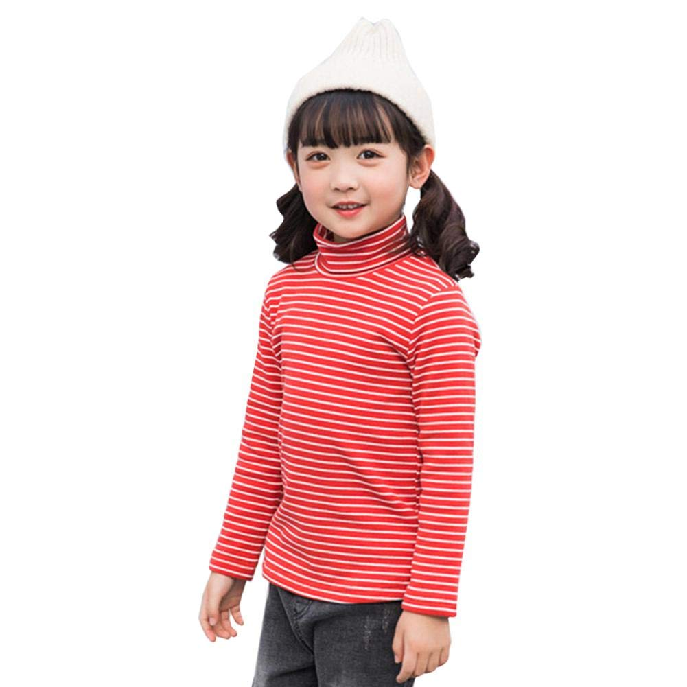 ZHUOTOP Unisex Boys Girls Long Sleeves Cotton T-Shirt High Collar Striped Basic Tops