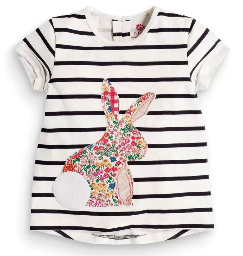 Toddler Boys Girls T-Shirts Tops Organic Short-Sleeved Cute Animals Prints Embroidery Unisex 2t-7t (2T, Stripe)