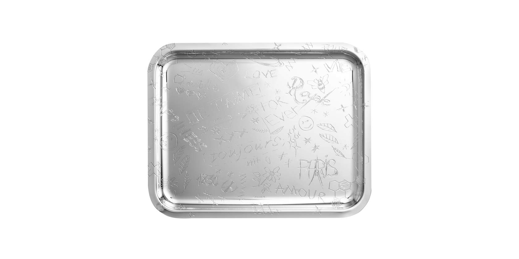 Christofle Graffiti Silver Plated Rectangular Tray #4200445