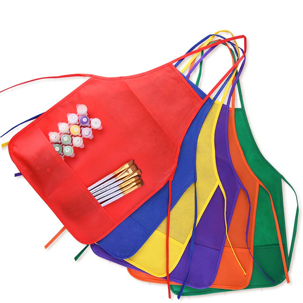 fb8e9fb93ca Amazon.com  KUUQA 12 Pack 6 Color Kids Aprons Children Painting Aprons Kids  Art Smocks with 2 Roomy Pockets for Kitchen and Classroom (Brushes not ...