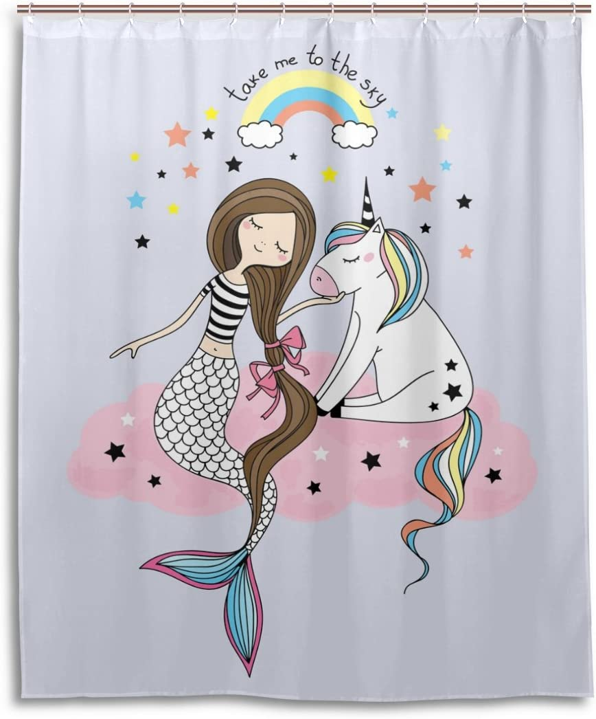 Amazon Com Colourlife Unicorn And Mermaid Waterproof Polyester Fabric Bathroom Shower Curtain Set With Hooks 60x72 Inches Home Kitchen