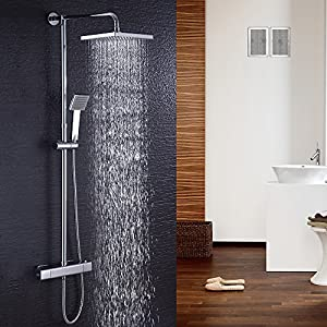 Hausbath Bathroom Thermostatic Mixer Shower Valve with 200mm Square rain Fall Shower Shower Head and Hand Held Shower System