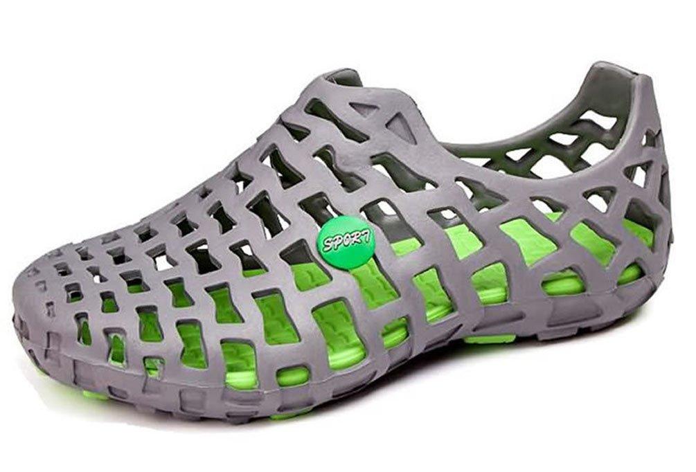 SHOWHOW Damen Breathable Flach Loch Mesh Strandschuhe Slippers Sandalen  42 EU|Grau-grün