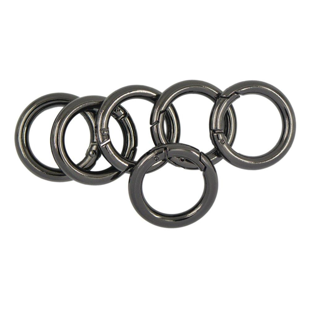 Baoblaze 6pcs Spring Clip Round Carabiner 1 Gate O Ring Circle Snap