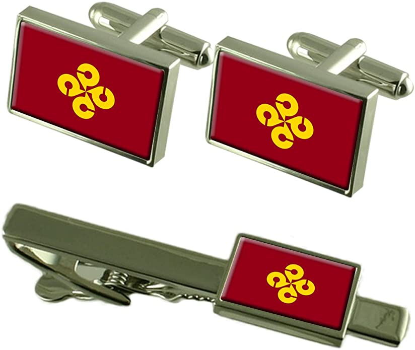 Flag Shimane Prefecture Cufflinks Box Box Gift Set Matching Tie Clip 55mm