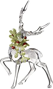 "Ganz Kissing Krystals Christmas Acrylic 6"" Mistletoe Reindeer Figurine"