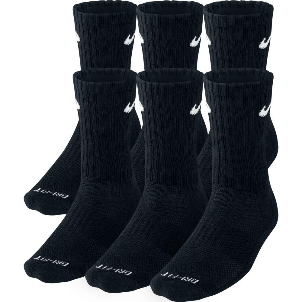 Nike Unisex Dri-Fit Crew 6-Pair Pack Black/(White) LG (Men's Shoe 8-12, Women's Shoe 10-13)