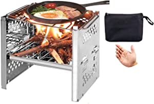 Huike-Tongchuang Lightweight Camping Stove Wood Burning Stoves Potable Folding BBQ Cooker Stainless Steel Backpacking Stove for Picnic BBQ Camp Hiking, Backpacking Stove (Style B)