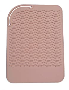 """Heat Resistant Silicone Travel Mat for Curling Irons, Flat Irons, Hot Tools - 9""""x6"""" - For Small or Large Vanities - BLUSH PINK"""
