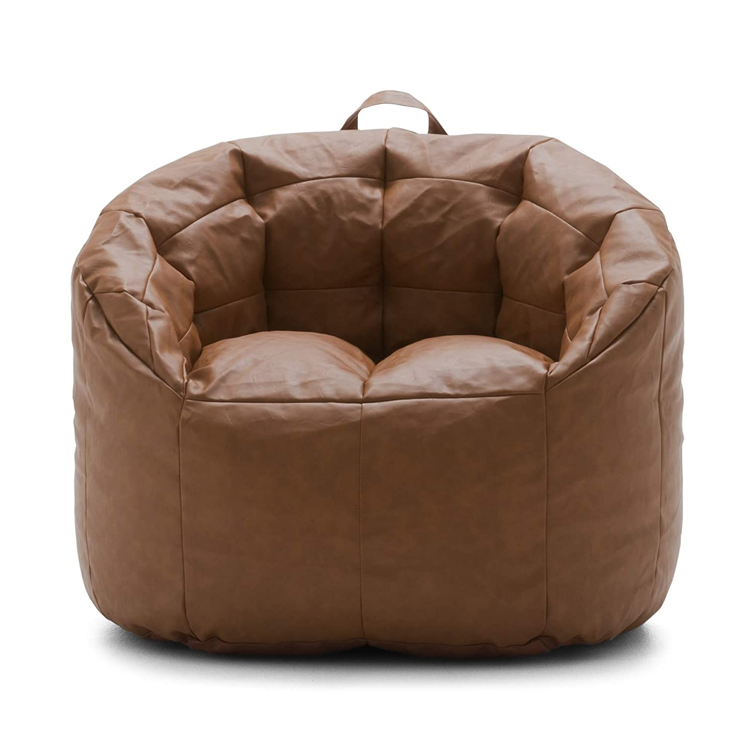 Big Joe Lux Siena, Montana Leather Caramel Bean Bag, Caramel, Caramel