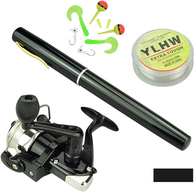 ShawFly Pen shape Fishing Rod Reel Combo Set Mini Telescopic Portable Pocket Pen Fishing Rod Pole 25m Fishing Line fishing Lures Kit/& Accessories