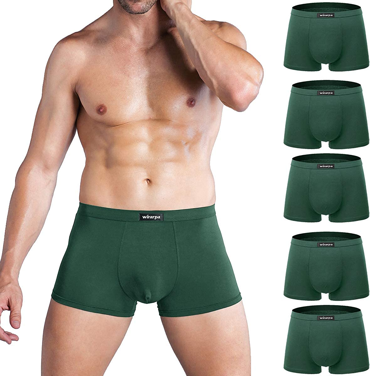 wirarpa Mens Ultra Soft Modal Underwear Boxer Brief Covered Waistband Multipack