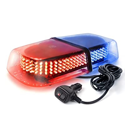 Xprite 240 LED Red & Blue Roof Top LED Emergency Strobe Lights Mini Bar for Cars Trucks Snow Plow Vehicles Warning Caution Lights w/Magnetic Base: Automotive