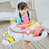 Pool Floats for Kids, Inflatable Baby Aircraft Motorboat With Steering Wheel Floating Ride-On Seat Boat Floating Row 39.4×35.4in Toy for Summer Outdoor Fun, Water Party, Beach Time Swimming Floaty