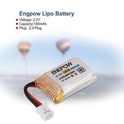 WOSOSYEYO 6 UNIDS Engpow 3.7 V 150 mAh 1S Lipo Batería Recargable ...