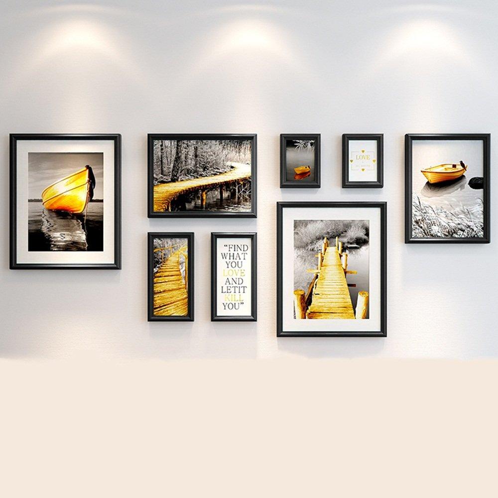 Modern minimalist photo wall / European living room photo frame wall / bedroom photo wall portfolio 8 box 187 81cm ( Color : A )