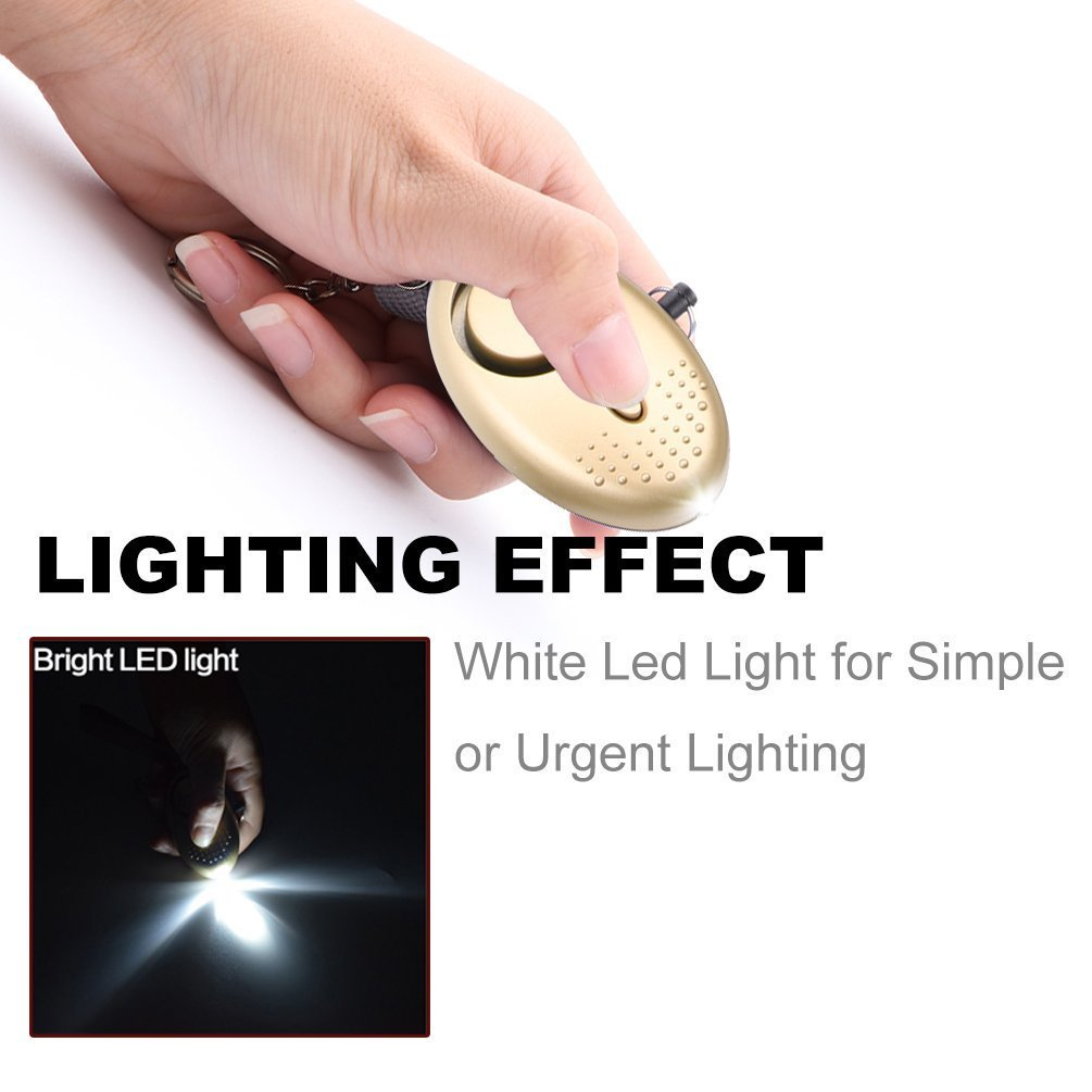 Personal Portable Security Alarms with LED Lights 130dB Personal Safety Alarms for Women Self Defense WESUN Personal Alarm Keychain 3Pcs Gold