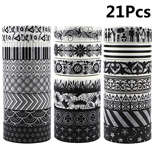 JPSOR Washi Tape Set, 5mm Wide Decorative Masking Adhesive Tape Four Season Paper Tape, Great for DIY, Craft, Gift, Scrapbook-Decorative, Multi-Purpose(48 Rolls) (Black&White) by JPSOR